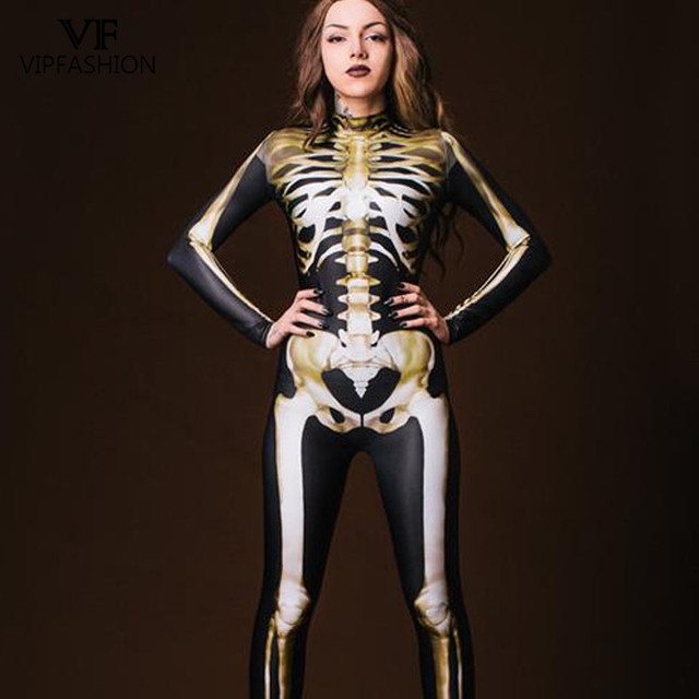 VIP FASHION New Graveyard Halloween Cospaly Costume For Women 3D Skull  Skeleton Ghost Jumpsuits Halloween Bodysuit