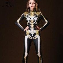 VIP MODE Neue Friedhof Halloween Cospaly Kostüm Für Frauen 3D Schädel Skelett Geist Overalls Halloween Body