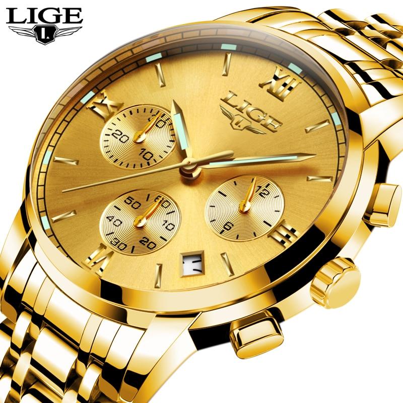 LIGE Luxury Brand Watches Men Fashion Gold Quartz Watch Men Six Pin Sport Waterproof Clock Man Full Steel Business Wristwatches портативное зарядное устройство prestige – pb 7200