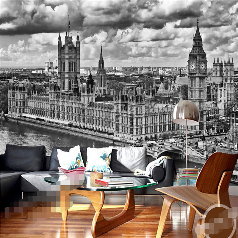 wall paper 3d mural decor picture backdrop Black and white London Bridge Church of living room Restaurant wall painting mural