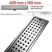 Выборг 400 мм x 100 мм Делюкс 304 нержавеющая сталь Экстра-Толстая прямоугольная Ванная комната Душ линейный дренаж пола пятнистый дренаж