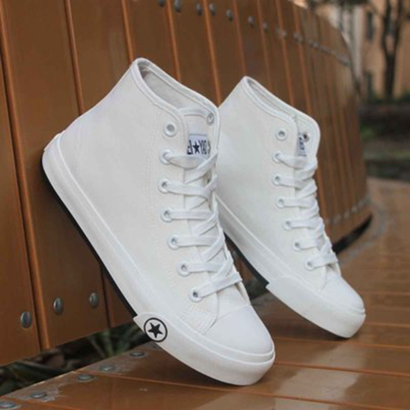 2017 high canvas shoes summer white casual shoes