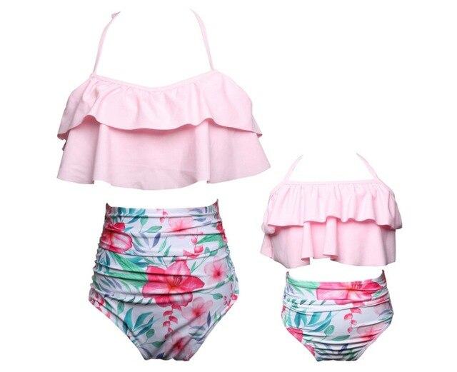 59d013f4f7 Emmababy mère fille maillots de bain famille look maman et moi Bikini  maillot de bain famille