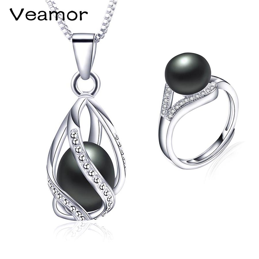 Veamor New Brand 925 Sterling Silver Jewelry Sets Black Pearl Ring  Engagement Pendant Fashion Wedding Necklace