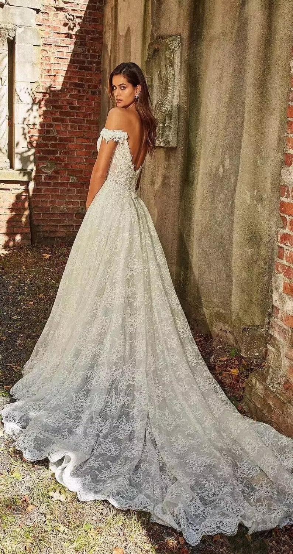 Womens Lace Wedding Dresses for Bride Off The Shoulder Appliques A Line Evening Dress