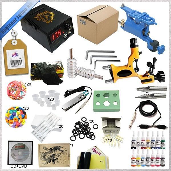 2015 HOT sales kit máquina de tatuaje con fuente de alimentación de cc y Rotary Kit Máquina de Tatuaje papel de transferencia del tatuaje de tinta 5 ml TK-2505