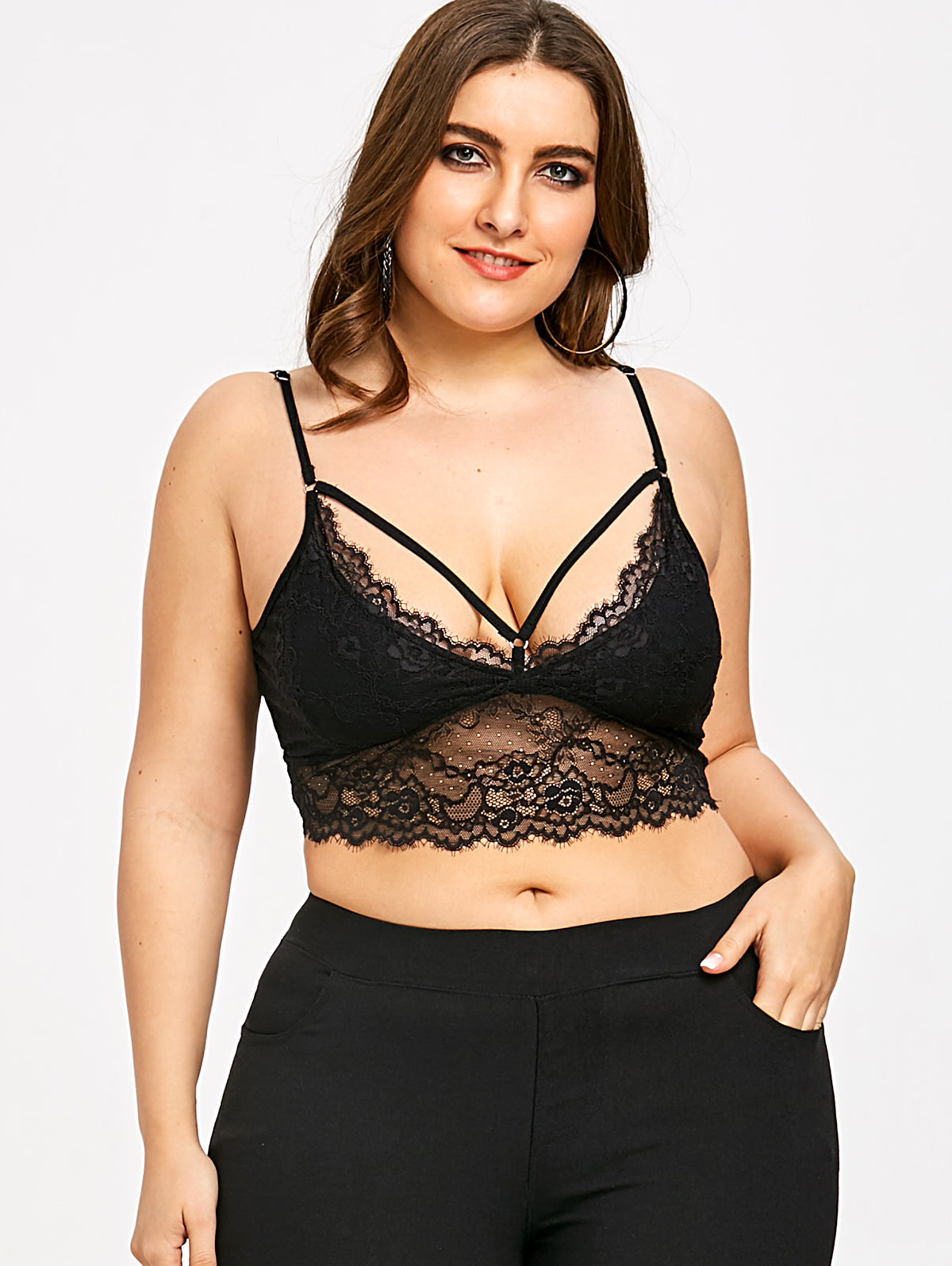 2865708740 Gamiss Plus Size 5XL Black Lace Trim Strappy Crop Top Camisole Sexy Bralette  Scalloped Edge Sheer Camisole Women Summer Top Cami