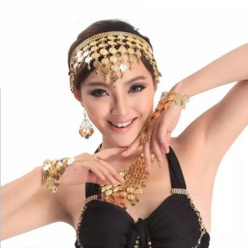 Bohemian boho fashion hairband coin tassel headpiece gold metal charm headband belly dance head band hair jewelry indian jewelry