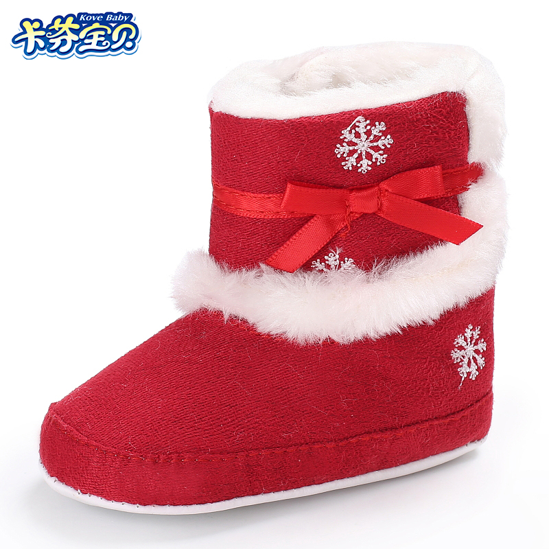 Baby Girl Winter Boots Shoes Infants Girls Warm Moccasins Shoes Plush Soft Sole First Walkers Booties 0-18M