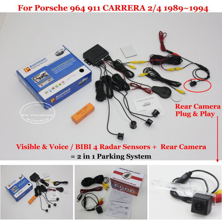 US $49 92 20% OFF|Liislee Car Parking Sensors + Rear View Camera = 2 in 1  Visual / Alarm Parking System For Porsche 964 911 CARRERA 2/4 1989~1994-in