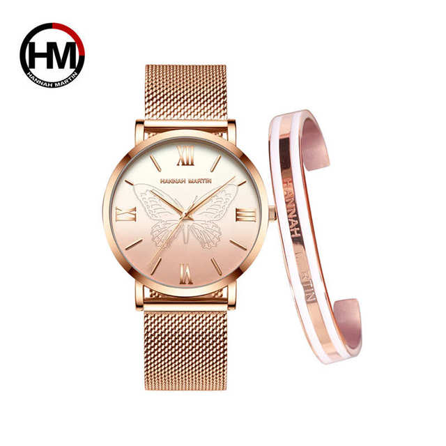 1 set Bracelet 3D Butterfly Japan Quartz Movement Stainless Steel Mesh  Creative Design Waterproof Ladies watch relogio feminino