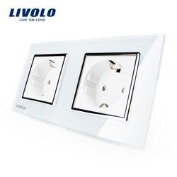 Livolo eu standard wall power socket white crystal glass panel manufacturer of 16a wall outlet vl.jpg 250x250