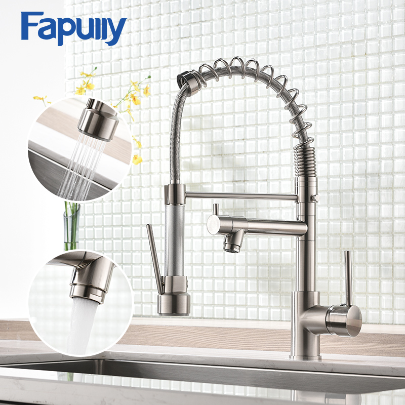 Fapully Spring Pull Down Kitchen Faucet Brushed Nickel Chrome Crane 2 Outlet Spray Dual Spouts 360