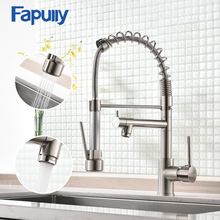 Fapully Spring Pull Down Kitchen Faucet Brushed Nickel Chrome Crane 2 Outlet Spray Dual Spouts 360 Swivel Mixer Taps 191