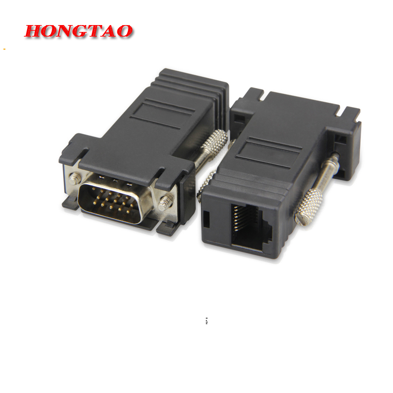 VGA Extender Male to LAN CAT5 CAT6 RJ45 Network Ethernet Cable Female Adapter Computer Extra Switch Converter Kit Black Hot