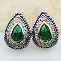 Simulated Emerald 925 Sterling Silver Earrings TE617
