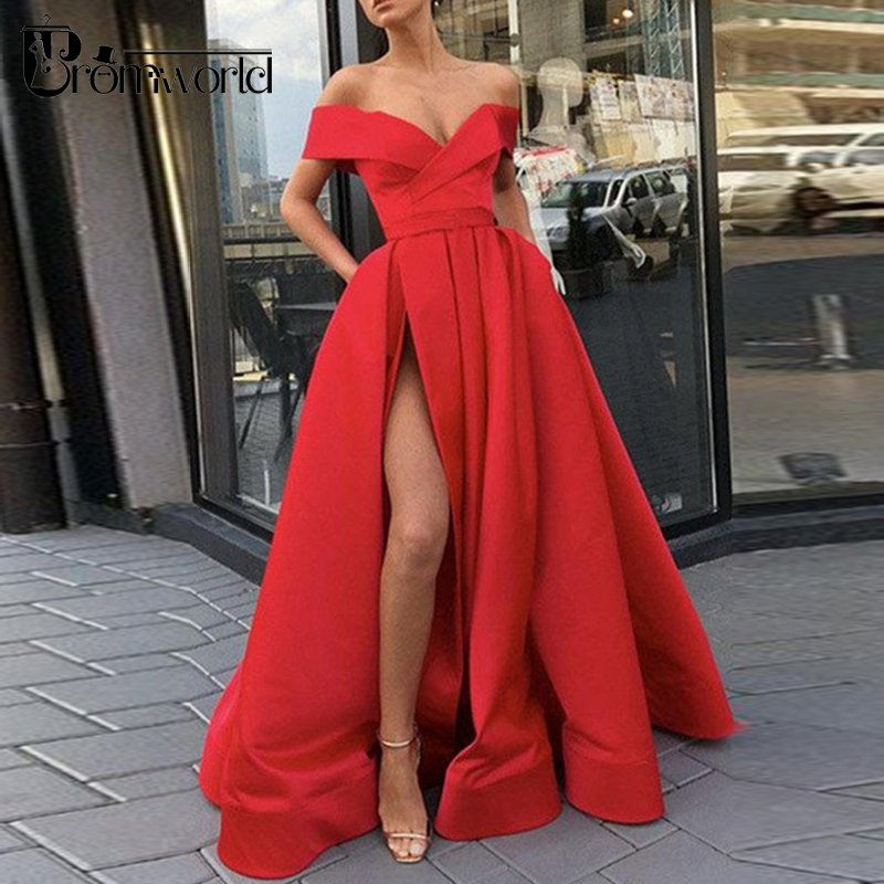 Red Prom Dresses 2019 Off The Shoulder High Slit Long Prom Gown With Pockets Vestidos De Fiesta Largos Elegantes De Gala