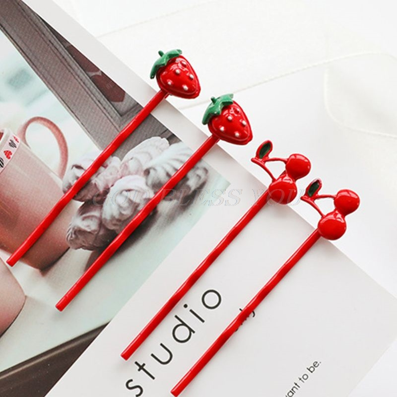 2Pcs/Set Korean Wavy One Word Hairpins Women Girls Lovely Baking Paint Strawberry Cherry Fruit Hair Clip Lolita Styling Barrette