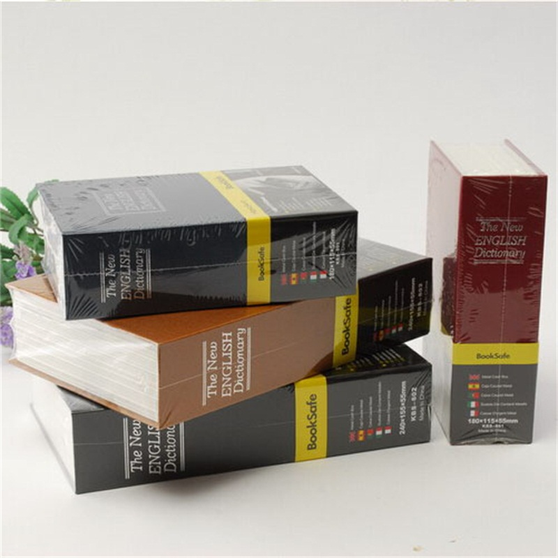 Size L 4/Color Hidden Box Security Lock Key English Dictionary Lock Strongbox Steel Simulation Book  265*200*65mm