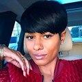 Rihanna Стиль Короткий Прямой Синтетический Парик Волос для Черных Женщин Парик Peruk Afircan Американских Черные Парики
