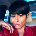 Rihanna Style Short Straight Synthetic Hair Wig for Black Women Perruque Peruk Afircan American Black Wigs