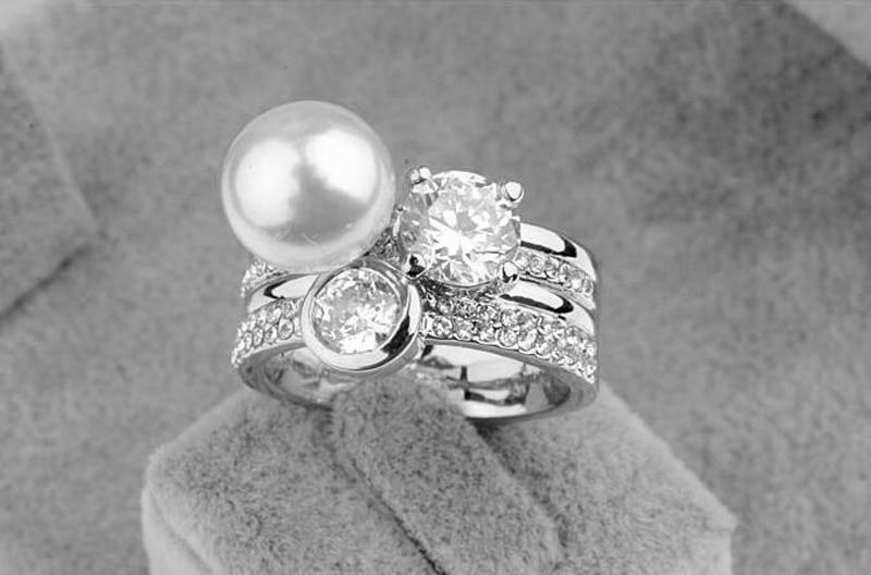 2016 супер луксозен кристал CZ W перлен - Модни бижута - Снимка 3