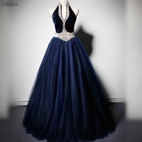 Navy Blue Vintage Evening Dresses Puffy Ball Gowns Halter Pearls Tulle Velvet Evening Gowns for Women abiti da cerimonia da sera