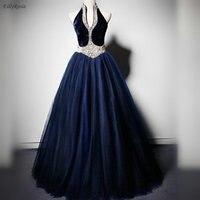 Navy Blue Vintage Evening Dresses Puffy Ball Gowns Halter Pearls Tulle Velvet Evening Gowns for Women abiti da cerimonia da sera