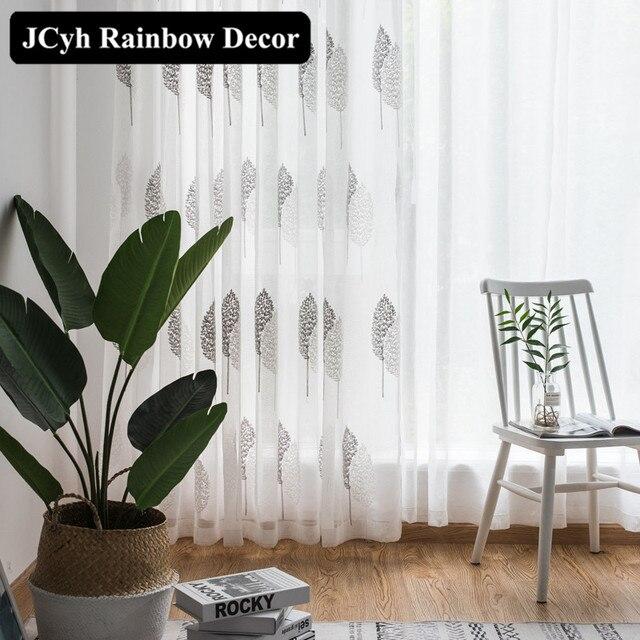 Moderno Bianco Ricamato tende di Tulle per soggiorno camera Da Letto tende Trasparenti per la tenda di finestra Organza Voile Tende Mussola
