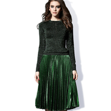 European American Women's Elegant Design 2017 Spring Fall Knitted Blouse Pleated Skirt Plus Size XXXL Green Slim Twin Set Suits