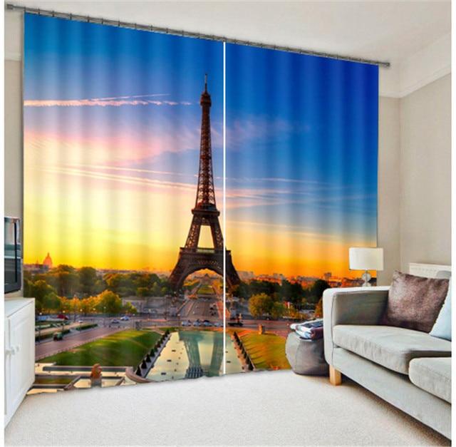 Eiffeltoren Luxe Venster 3D Gordijnen set Voor Bed woonkamer Kantoor ...