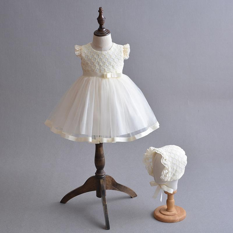 Robe bébé fille 1 an fille anniversaire Robe Champagne fleur fille Robe Tulle dentelle robes A015 bébé demoiselle d'honneur robes Robe
