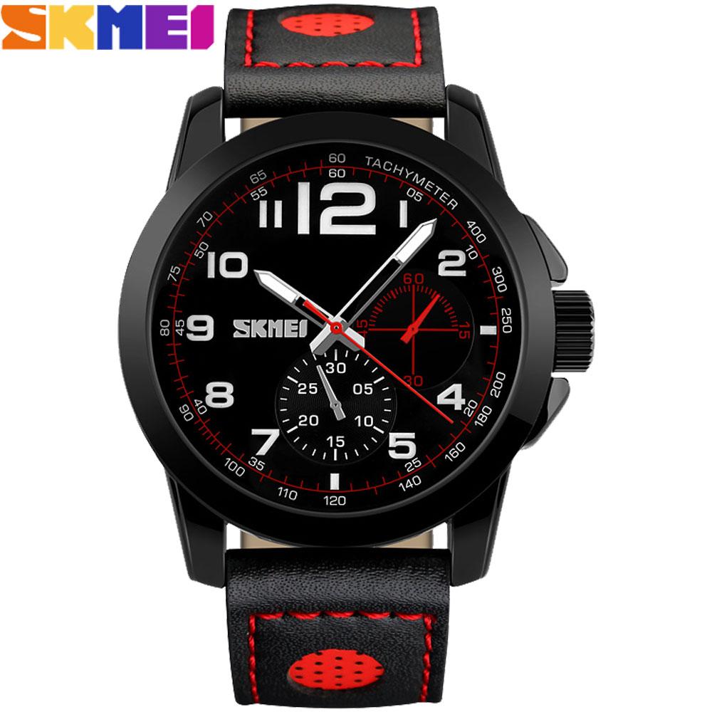 SKEMI watches men fashion sports military watch red blue black genuine leather band japan quartz wristwatches relogio masculino rga r 981 sports watche red