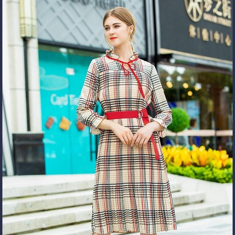 Robe Shirt Travail Utomne Robes Nouveau Élégante Picture Party Vintage Aspring Print Douces Mode Femmes Bureau Color Plaid Dames 2018 Casual Dress FwBnEq