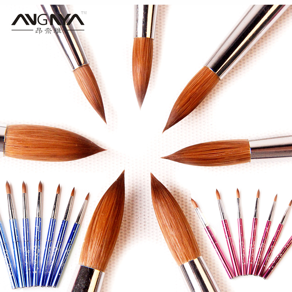 ANGNYA New 1pcs #2#4#6#8#10#12#14#16#18#20#22 Kolinsky Sable Brush Acrylic  Nail Art Brush Pink Metal Crystal Acrylic Salon osaka acrylic nail kolinsky brush 14