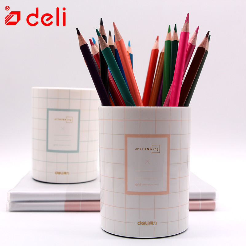 Deli Multi-function Pen Holder Desk Stationery Organizer Pen Pencil Holder Simple Storage Box Case Container 2 colors available fashion diy desk storage box storage bag pen container multi function sundry woodiness storage box