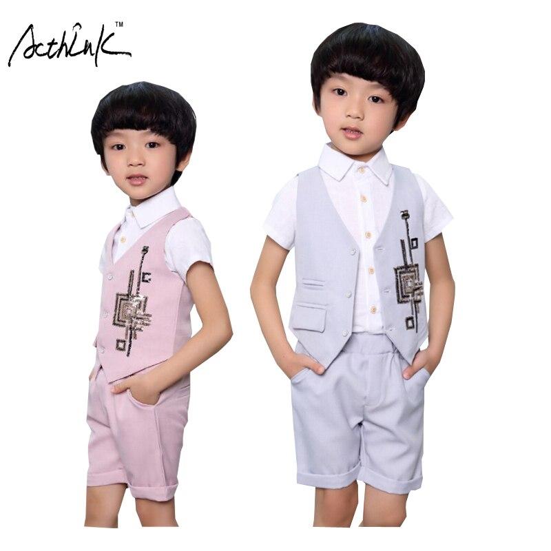 ActhInK New Summer Children Paillette Wedding 2Pcs Vest+Shorts for Boys Kids England Style Suit Boys Formal Clothing Set, ZC059