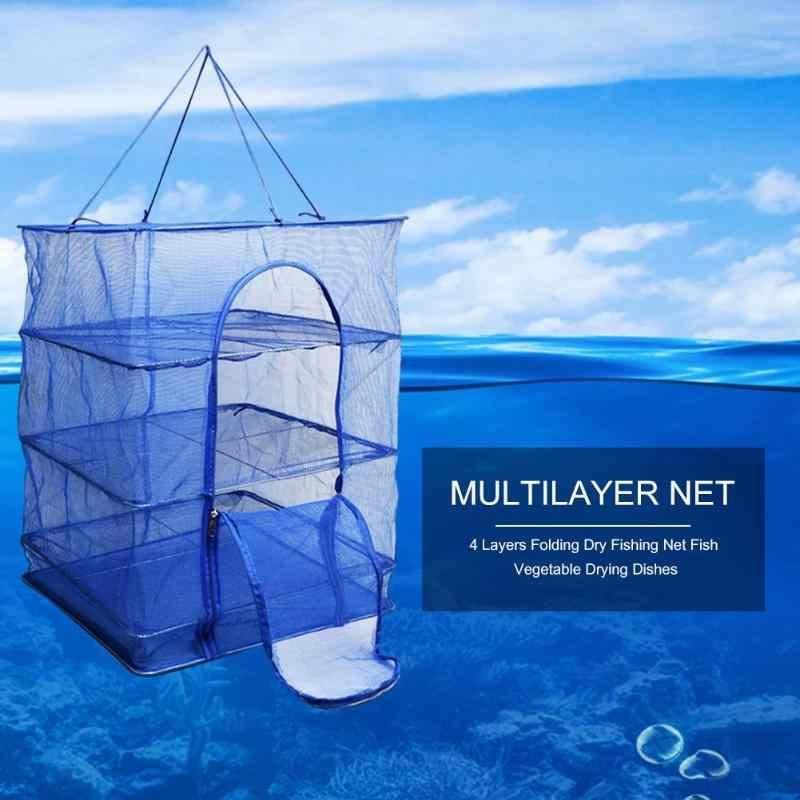 4 Lapisan Jaring Ikan Serpihan Kering Memancing Net Rak Lipat Mesh Gantung Tidak Beracun Hidangan Sayuran Pengering Hanger Memancing aksesoris