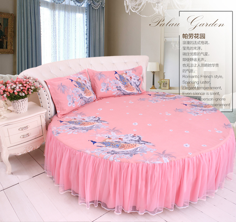 Home & Garden The Cheapest Price Landscape Painting Peacock Round Bed Bedding Set Elegant Romantic French Duvetcover Pink Bedskirt Round Bedding Kit Freeshipping