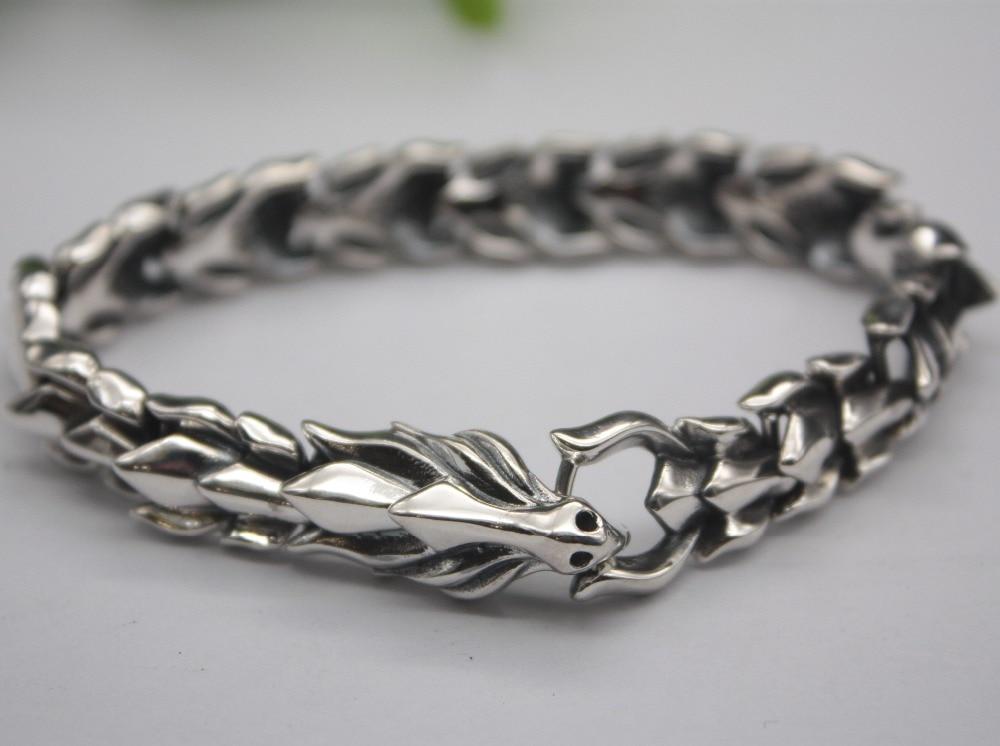 Sterling S925 Silver Bracelet Unique Dragon Shaped Luck Chain Man/'s Link 7.6/'/'L