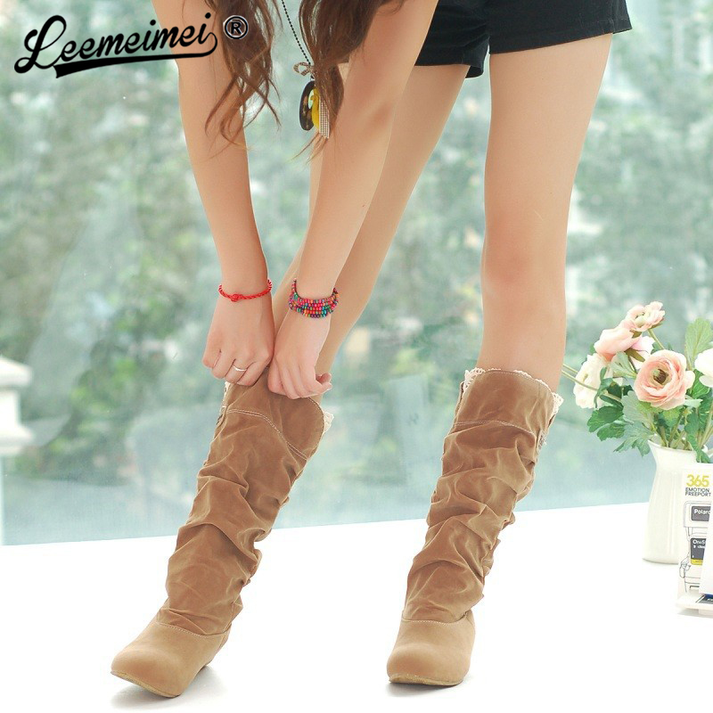 Free Shipping Autumn And Winter Chaussure Femme Fashion Knee High Boots Women Casual Shoes Botas Mujer Boots Female women shoes scarpe donna elastic boots botines mujer sapato feminino round toe chaussure femme schoenen vrouw over knee boots