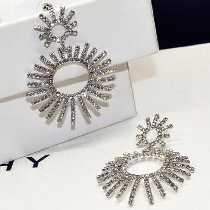 Charmcci Luxury Vintage Gold Color Silver Sun Dangle Drop Chandelier Crystal Imitation Earrings Jewelry RH00001