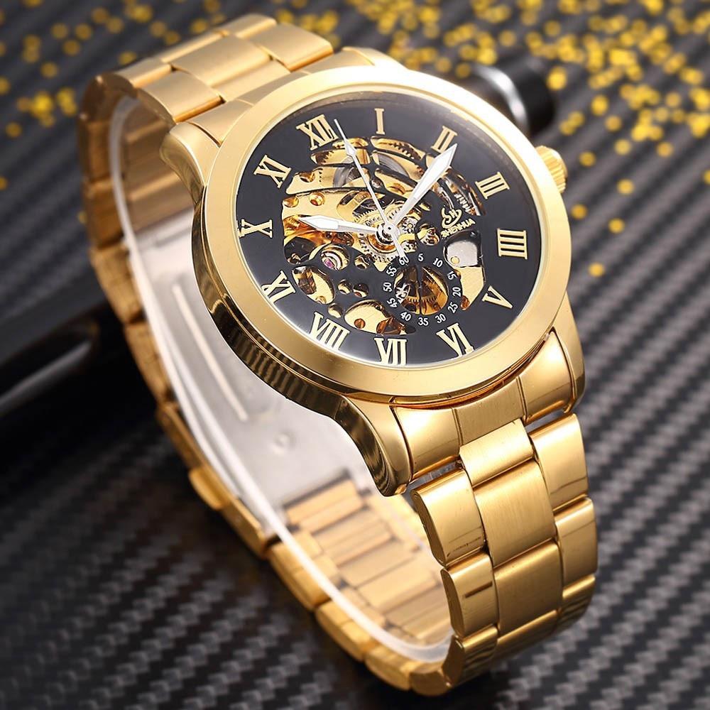 SHENHUA Zegarek męski Luksusowa Moda Mężczyźni Złoty Szkielet - Męskie zegarki - Zdjęcie 2