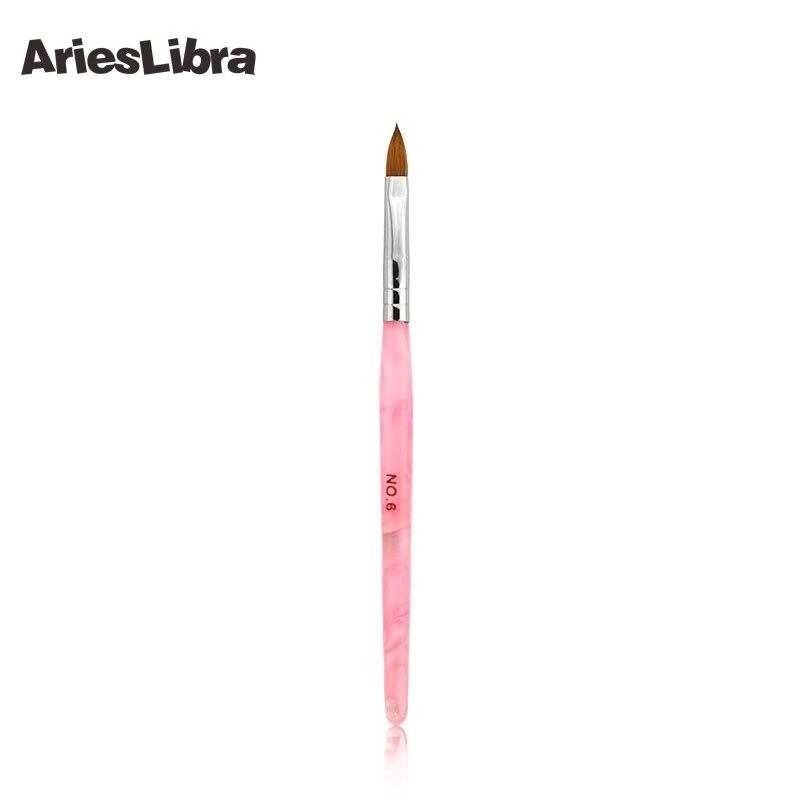 AriesLibra 10 pièce/ensemble 6 # Kolinsky Sable brosse acrylique Nail Art brosse pour Nail Art peinture cristal brosse à ongles