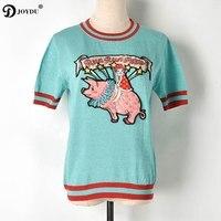 JOYDU Designer Knitted tshirt 2019 harajuku Cartoon Pig Lurex T shirts For Women O neck Short Sleeve Embroidery Summer T shirt