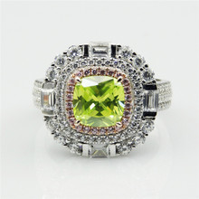 Women Cushion Cut 2.5CT Simulated Green Diamond Ring Double Halo 925 Sterling Silver Engagement Wedding Ring