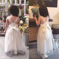 2016 Summer New Fashion Girl white Mesh Cotton Off Shoulder Cute Sweet Princess Baby Casual white long party Dresses beach cloth