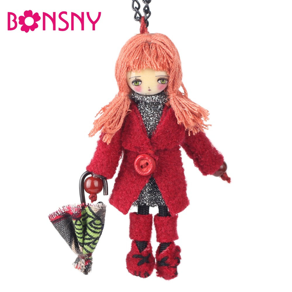 Bonsny Winter Handmade Cloths French Paris Doll Necklace Long Chain Statement Pendant 2017 News Choker Russia Girls WomenBonsny Winter Handmade Cloths French Paris Doll Necklace Long Chain Statement Pendant 2017 News Choker Russia Girls Women