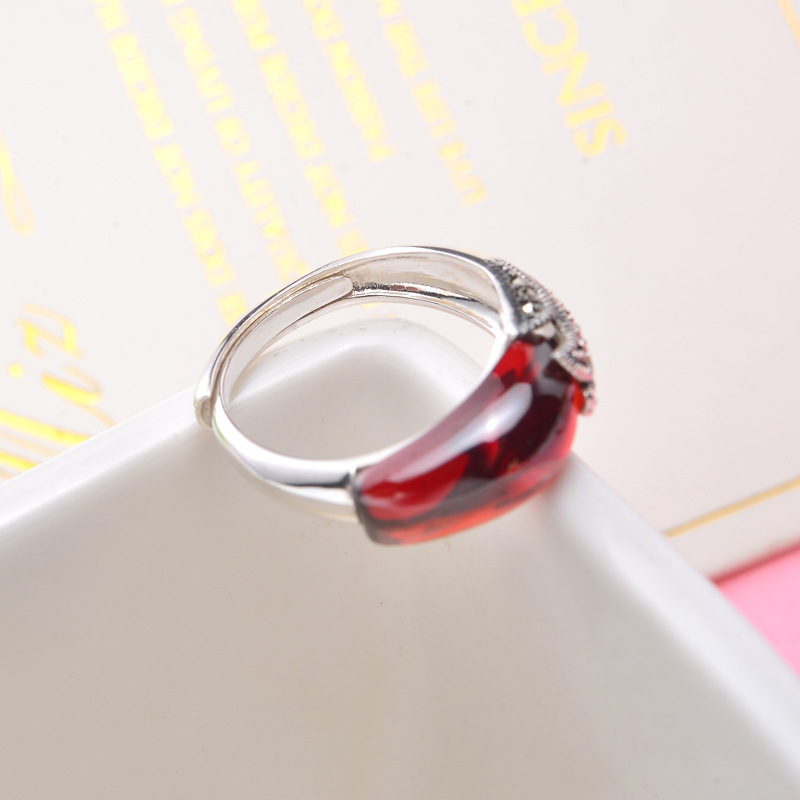 Flyleaf 925 Sterling Silver Rings For Women Natural Agate Stone Retro Open Ring Femme Elegant Temperament Fine Jewelry Gift in Rings from Jewelry Accessories