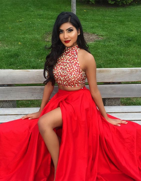 d9b5bd23a2b XH 154 New Arrival Red Satin Two Piece Long Prom Dresses 2019 Side Split  Halter Neck Crystal Off The Shoulder Evening Gowns-in Prom Dresses from  Weddings ...